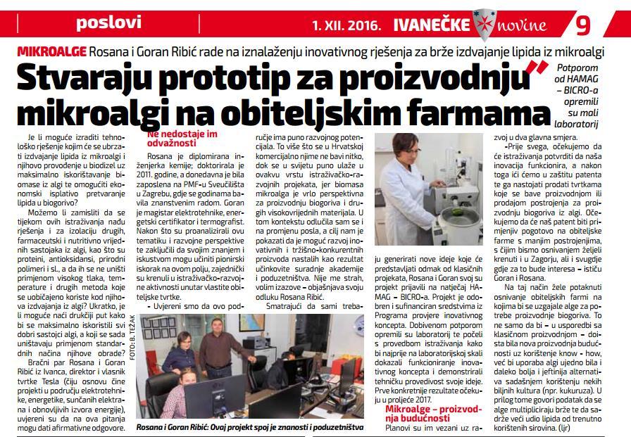 Članak o tvrtci TESLA u Ivanečkim novinama