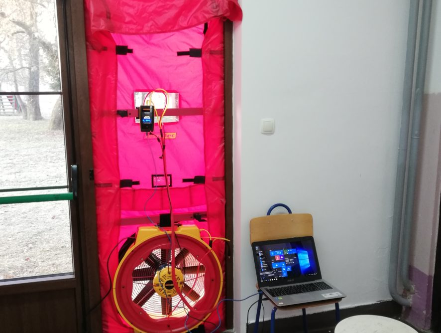 Blower door test (ispitivanje zrakopropusnosnosti toplinske ovojnice) i termovizijsko snimanje Područne škole Nedeljanec